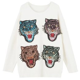 Wholesale Lantern Beads - 2017SS off white sweater Ladies loose sweaters sequins leopard head High-quality white Embroidery sweater