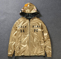 Wholesale Double Hooded Jacket - High-quality gold camouflage shark hooded men's coat windbreaker new tide card hip hop kanye west double-sided wear jacket