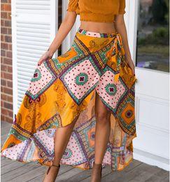 Wholesale Boho Print Maxi Skirt - 2016052941 Boho print bow asymmetrical women skirt long Summer style beach maxi skirt Vintage cotton loose flare skirts new