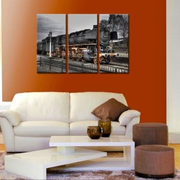 Wholesale Train Wall Art - 3 Pieces Paintings Old Train Wall Art Painting The Picture Print On Canvas Car Pictures For Home Decor Decoration Gift