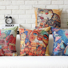 Wholesale rich black printing - 45cm Rich Cat and His Cartoon CastleCotton Linen Fabric Waist Pillow 18inch Hot Sale New Home Decorative Sofa Car Back Cushion