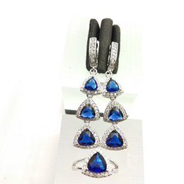 Wholesale Blue Topaz White Gold Necklace - Deep Blue Amethyst White Topaz 925 Silver Wedding Jewelry Sets For Women Earrings Rings Size 7 8 9 Free Gift Box