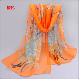 Wholesale Peacock Prints Summer - 2016 New arrivals Summer and Autumn Bask shawls Chiffon georgette Headband Ladies long Peacock Printed scarves