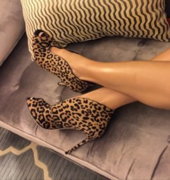 Wholesale Leopard Boots Pink Heels - New Selling One Pair Custom Made Leopard Horsehair Ankle Boots Women Gladiator Spring Boots Black Suede Drop Ship