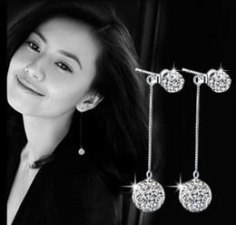 Wholesale Double Tassel Earrings - 925 Sterling Silver Earrings for Women Fashion Shambhala Double Rhinestone Crystal Ball Tassel Long Dangle Earrings High Quality