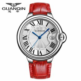 Wholesale Guanqin Watch Ladies - Wholesale-NATATE Original GUANQIN Women Fashion Quartz Watch Top Brand luxury Waterproof Sapphire Leather Strap Lady Dress Watch G6807M