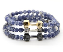 Wholesale Christmas Jewellry - 2016 Men's Powerful Gift Jewellry Wholesale 6mm Blue Stone beads with Alloy Fitness Dumbbell Bracelets
