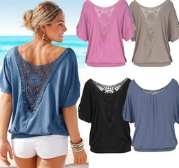 Wholesale Casual Womens Chiffon Blouse - Hot sales. womens casual loose short-sleeved blouse, lace stitching hollow sexy woman shirts, plus size, ladies blouse tops