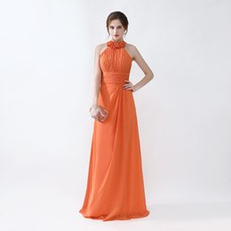 Wholesale fast hot water - Free Shipping High Quality Prom Dresses Halter Neck Long Style Orange Evening Gowns Hot Sale Fast Delivery