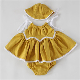 Wholesale Swing Baby Clothes - Rustic Baby Girls Clothing Mustard Yellow Baby Birthday Outfit Linen Baby Swing Top Bloomer Set ,Baby Girls Swing Dress with hat