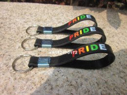 Wholesale Pride Stainless Steel Rings - Gay Pride rainbow Wristband key holder,silicone bracelet key chaing ring,50pcs lot,free shipping bracelet embroidery bracelet soldier