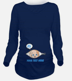 "Wholesale Maternity T Shirt Baby - 6 Patterns 2016 New Funny Baby ""HI"" Printing Pregnant T Shirt Long Sleeve Spring Autumn Maternity Women Goemetric Blue Clothes"