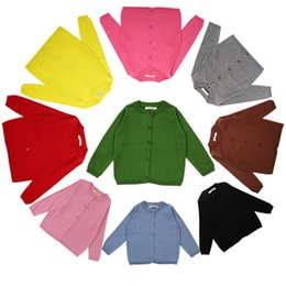 Wholesale Cotton Baby Knitwear - Baby Knit Cardigan Boys Girls Solid Color Sweater Children Spring Autumn Cotton Knitwear For Kids New Clothing Free DHL 429