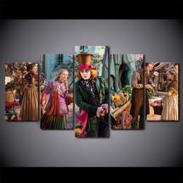 Современные картины из стекла онлайн-5 шт./компл. в рамке HD печатных Алиса в Стране Чудес, глядя стеклянная стена холст печати плакат азиатское современное искусство картины маслом фотографии