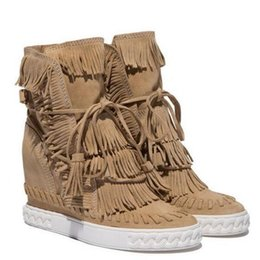 Wholesale Rubber Sole Leather Boots - New Booty Casual Women Shoes Suede Fringes Quality Details Rubber Sole Hidden Wedge Indie Sand Trainers Women Shoes Woman Zapatos Mujer