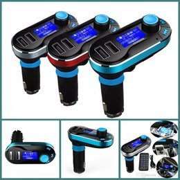 Wholesale Remote Control Mobile Infrared - T66 Car MP3 Player Infrared Remote Control Support AUX Cigarette Lighter Type Card Machine Dual USB Car Charger Car Stereo Music
