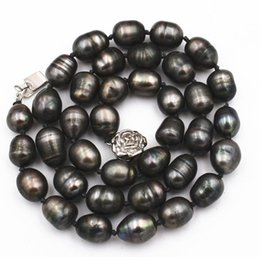 """Wholesale Rice Pearls - new NATURAL 9-10MM TAHITIAN RICE BLACK gray PEARL NECKLACE 18"""""""