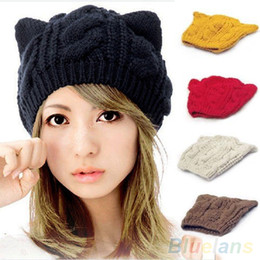 Wholesale Wool Beret Black - Wholesale-Women's Winter Knit Crochet Braided Cat Ears Beret Beanie Ski Knitted Hat Cap 989L
