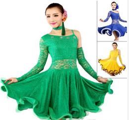 Vestito latino da ballo giallo online-Gonna ballo latino blu / giallo / verde vestito da donna per ballare abiti da ballo latino in vendita Tanto / Cha cha / Rumba Competition Dress
