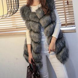 Wholesale Short Gilet - High quality Fur Vest coat Luxury Faux Fox Warm Women Coat VWomen's Coats Jacket Gilet Veste 4XL