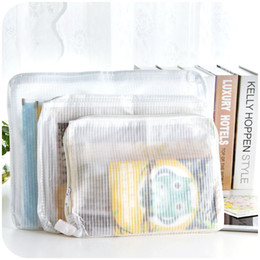 Wholesale Transparent Clothes Pouches - Wholesale-Multipurpose waterproof mesh zipper pouch three sets, transparent clothing finishing bags paper bags