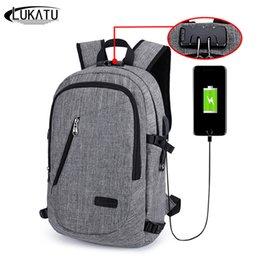 Wholesale Solid Plugs - Men Backpack Anti-Theft Password Locks Bag Men Bag USB Charging Backpack With Headphone Plug Business Travel Backpack Bag