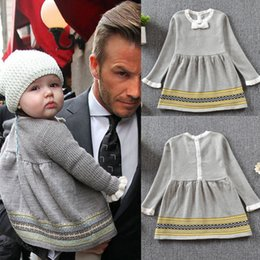 Wholesale Girl Sweater Star - New Girls Dresses Sweater Knitting Long Sleeve Knit Dress Baby Star Autumn Prinncess Girl Bow Dress Infant Clothing Dresses Grey A7275