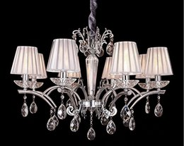 Wholesale Glass Crystal Chandelier Shades - 8 Arms Indoor led Chandelier with crystal pendants ceiling lustre de cristal modernos white shade iron chandelier free shipping