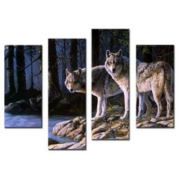Wholesale Wood Wolf - 4 Pieces Wall Art Decor Picture of Two White Arctic Wolves in The Woods In Winter Animal Wolf Canvas Print For Home Decor with Wooden Framed
