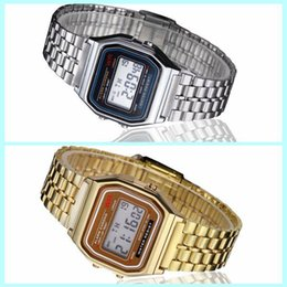 Wholesale Wrist Watch Digital Thin - Luxury F91 thin silver gold LED F-91W LED watches Fashion Ultra-thin digital LED Wrist Watches F91W Men Women Sport watch