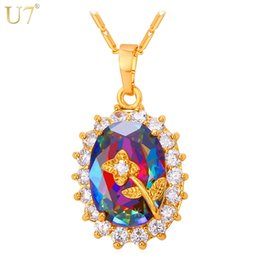 Wholesale Necklace Black Crystal Flower - unique Gold Flower Necklace Zirconia Charm Platinum   18K Real Gold Plated Trendy Crystal Necklaces & Pendants Women Jewelry P793