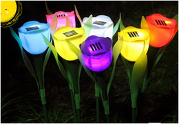 2019 солнечные цветы оптом Wholesale-10PCS/Lot Outdoor Garden Light Solar Tulip flower light Powered LED Lawn Lamps Flower Lamp HT8940 Free drop shipping дешево солнечные цветы оптом