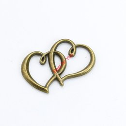 Wholesale Double Connector Charms - 15pcs Antique Bronze Double Heart Connector Pendants Jewelry Making DIY Jewelry Findings 24x31mm