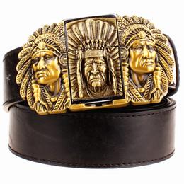 Wholesale Green Lighters - Wholesale-Fashion male leather belt lighter metal buckle belts Kerosene lighter belt punk rock style indians eagle show belt gift for men