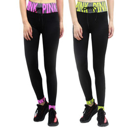 Wholesale jeggings girl - Pink Letter Leggings High Waist Sports Slim Running Yoga Pants Casual Skinny Tights Women Fashion Cropped Trousers Elastic Jeggings KKA3173