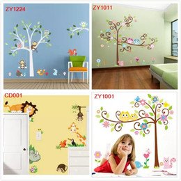 Wholesale Kids Fox Wall Decals - Wise Fox Squirrel Monkey Owls on White Tree Wall Stickers for Kids Room Love Birds Wall Decal Vinyl Sticker Nursery Room Décor