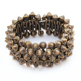 Wholesale Silver Spikes Studs - Gothic Punk Rock Studs Spike Rivets Shaped Stretch Bracelets For Women Silver Nickel Bronze For Choosing