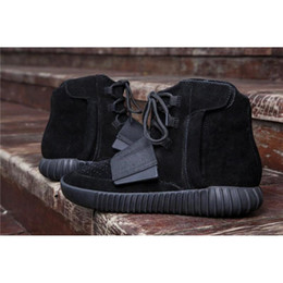 Wholesale Thick Soled Boots Women - New Basketball Shoes Boost 750 Triple Black Women Men Kanye West Shoes Classic Sports Running Sneaker Boots Thick Sole Grey Chocolate