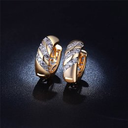 Wholesale Copper Loop - Wholesale- Atreus Classic Design Small Round Loop Rose Gold Color AAA CZ Fine Wedding Hoop Earrings for Women CR038