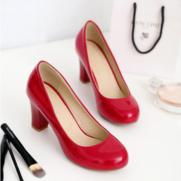 Wholesale Black Thick High Heel Pumps - Women High Heel Pumps Red Black Apricot White Thick Heel Pumps Round Toes Sexy Footwear Wedding Heels Spring Fall Leather Shoes