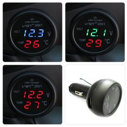 Argentina 3 en 1 VST-706 Digital LED Voltímetro del coche Termómetro Auto Car USB Cargador 12V / 24V Medidor de temperatura Voltímetro Encendedor de cigarrillos Suministro