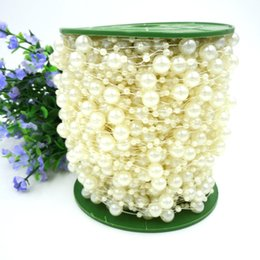 Wholesale Wholesale Beads Flower Strung - 75M Roll White Pearl Beads Chain String Strand DIY Craft Garland For Bouquet Party Wedding Bridal Flower Headdress Beaded Jewelry DHL Ship