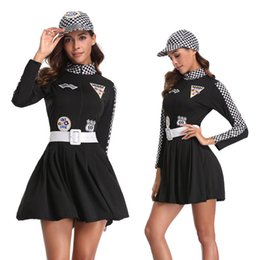 Wholesale Temptation Uniform Racing Girl - Sexy Women Racing Girls Costume Car Driver Nascar Racer F1 Halloween fancy dress 89288