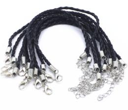"Wholesale Black Leather 3mm - 10pcs 3mm Black Leather Bracelet Cord Fit Charm Beads 0.12"" Leather bracelet"