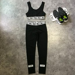 Wholesale American Skiing - Pink Tracksuits Pink Crop Tops Pants Pink Letter Sports Suit Women Sweat Suit Camis Vest Trousers Fashion Jogging Sportswear CCA7824 30set