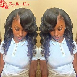 Wholesale Remy Hair Wigs Bangs - Loose Wave Lace Wig Human Hair Remy Bangs 150 Density Glueless Indian Human Hair Bleached Knots Full Lace Wig With Baby Hair