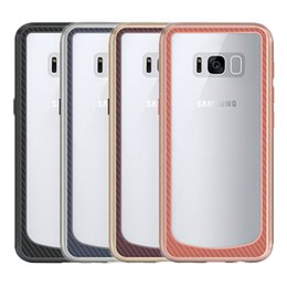 Wholesale Metal Bumper Cases - For Samsung S8 Case Clear Hybrid Soft TPU + Metal Texture Bumper Case Cover For Samsung Galaxy S8 S8plus A7 J7 (2017)