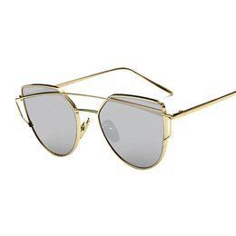 Wholesale Vintage Punch - 2016 New Cat Eye Women Sunglasses Brand Design High Quality Flat Lens Vintage Shades Female Cateye punch Mirror Sun Glasses