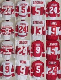 Wholesale Browns Throwback Jerseys - Throwback 13 Pavel Datsyuk Jersey Men Detroit Red Wings 9 Gordie Howe 5 Nicklas Lidstrom 24 Chris Chelios Vintage Classic 75th Red White