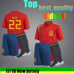 Wholesale Fabregas Jersey - 2017 2018 A+quality Spain jersey A. INIESTA RAMOS home 17 18 kids Socks soccer jersey FABREGAS COSTA SILVA ISCO VAXI spain football shirt